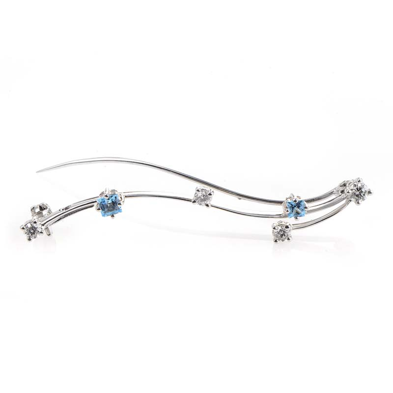 18K White Gold Topaz & Diamonds Pin 0024912