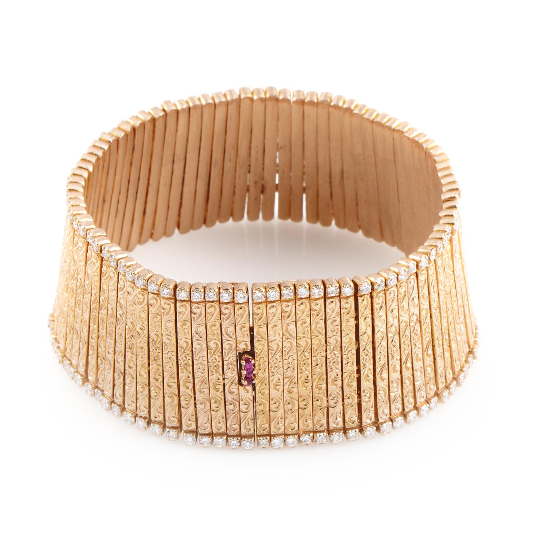Women's 18K Rose Gold Carved Diamond Bracelet