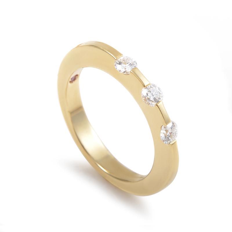 Women's 18K Yellow Gold 3 Diamond Band Ring 0055576Y