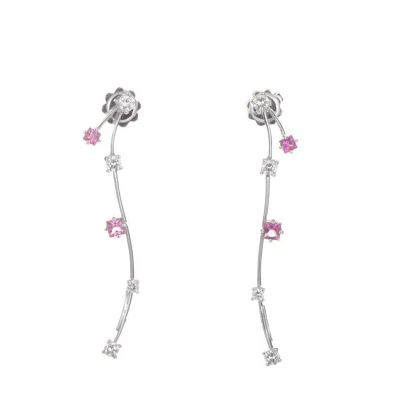18K White Gold Pink Tourmaline & Diamond Stick Earrings 0133581