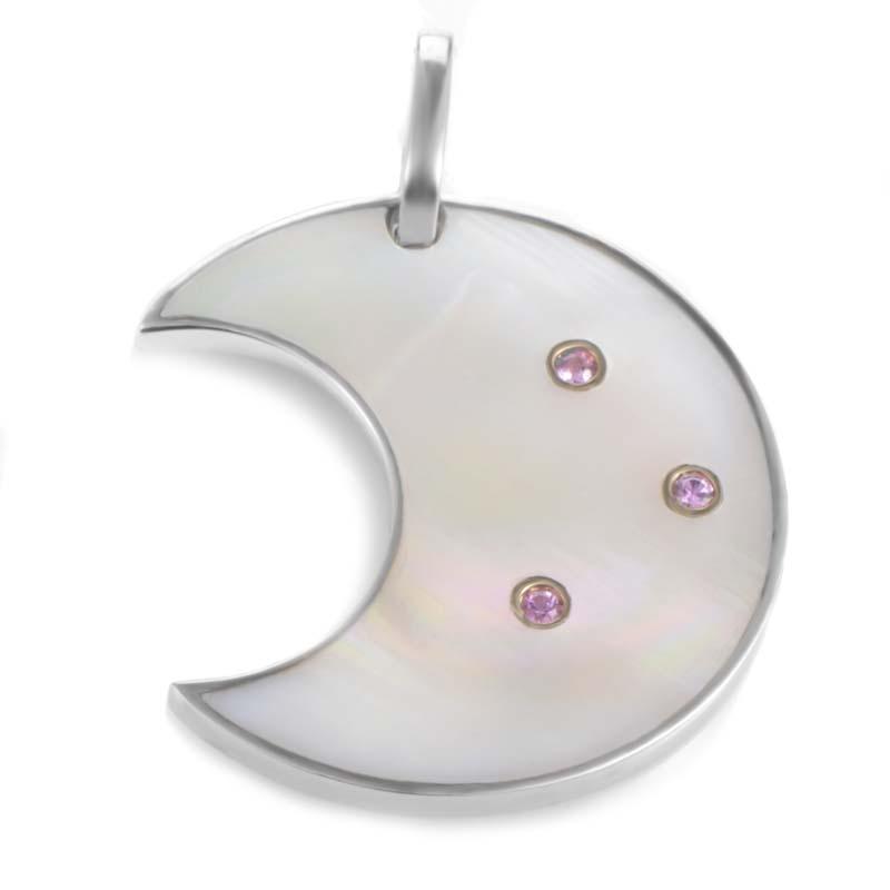 18K White Gold Mother of Pearl & Pink Gem Crescent Moon Enhancer