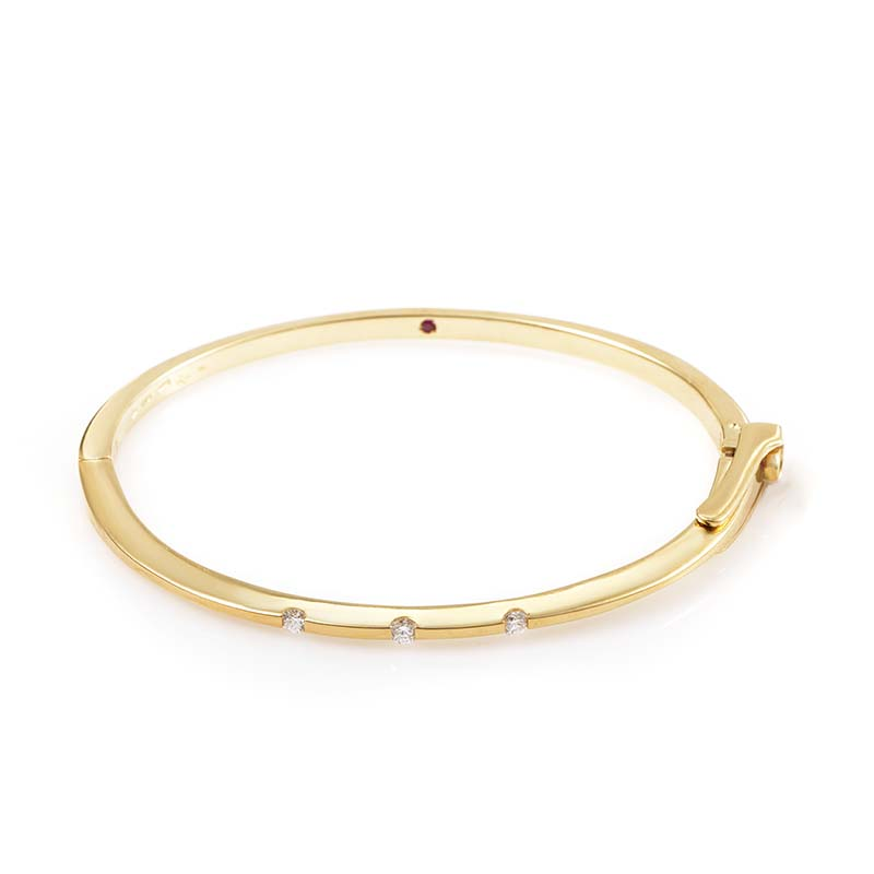 Women's 18K Yellow Gold 3 Diamond Bangle Bracelet 0194113Y