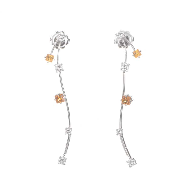 18K White Gold Citrine & Diamond Stick Earrings 0215760