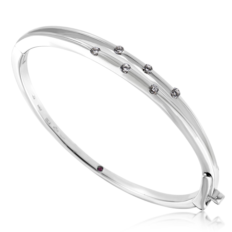 Women's 18K White Gold 6 Diamond Bangle Bracelet