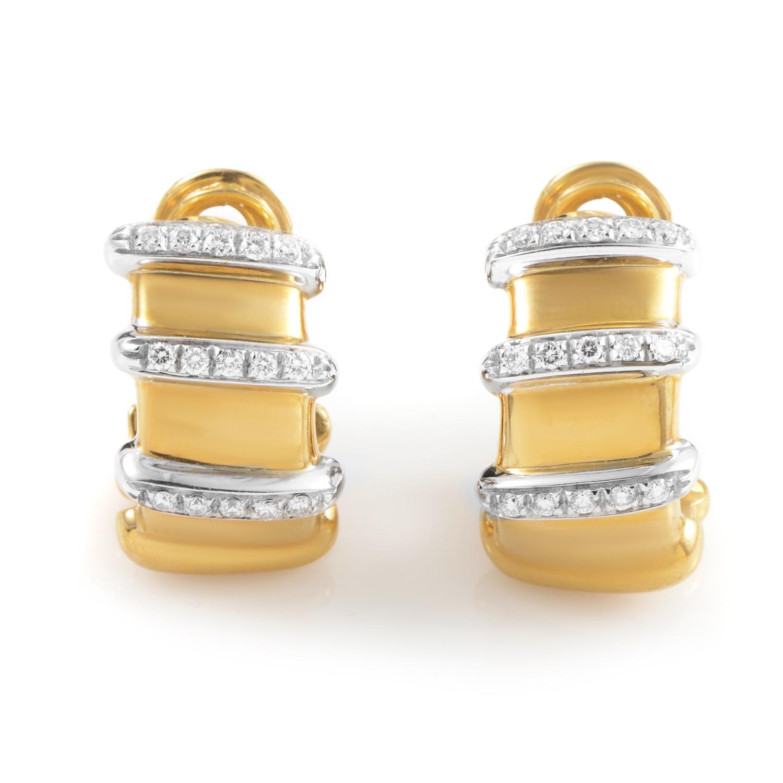 Nabucco 18K Multi-Tone Gold & Diamond Huggie Earrings