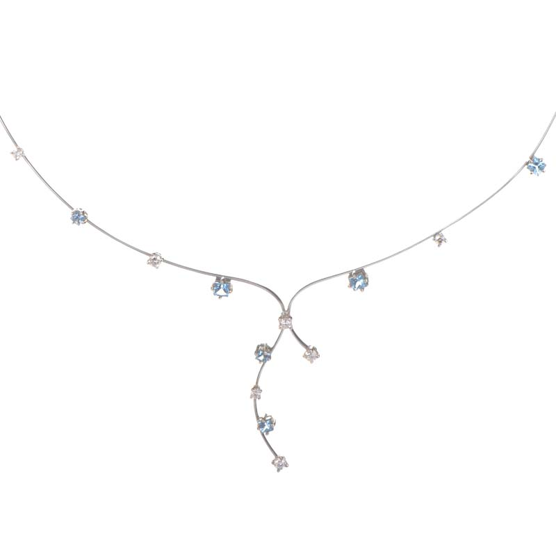 Thin 18K White Gold Topaz & Diamond Necklace 0229693