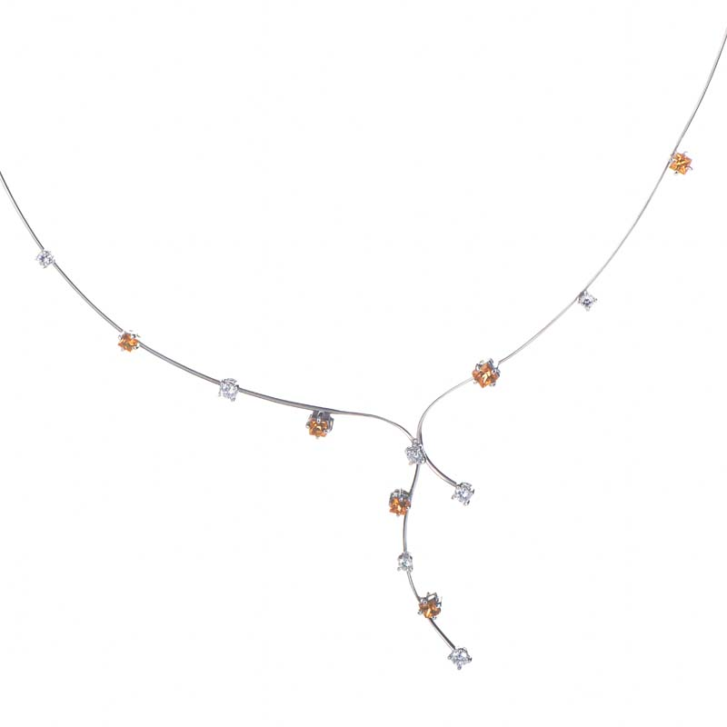Thin 18K White Gold Citrine & Diamond Necklace 0229693