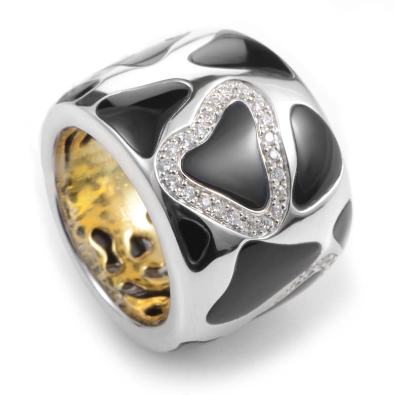 Panda 18K Multi-Gold Onyx & Diamond Ring