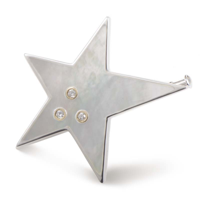 18K White Gold Mother of Pearl & Diamond Star Brooch