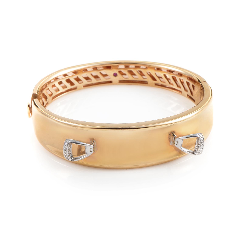 Cheval 18K Multi-Tone Gold Diamond Stirrups Bracelet