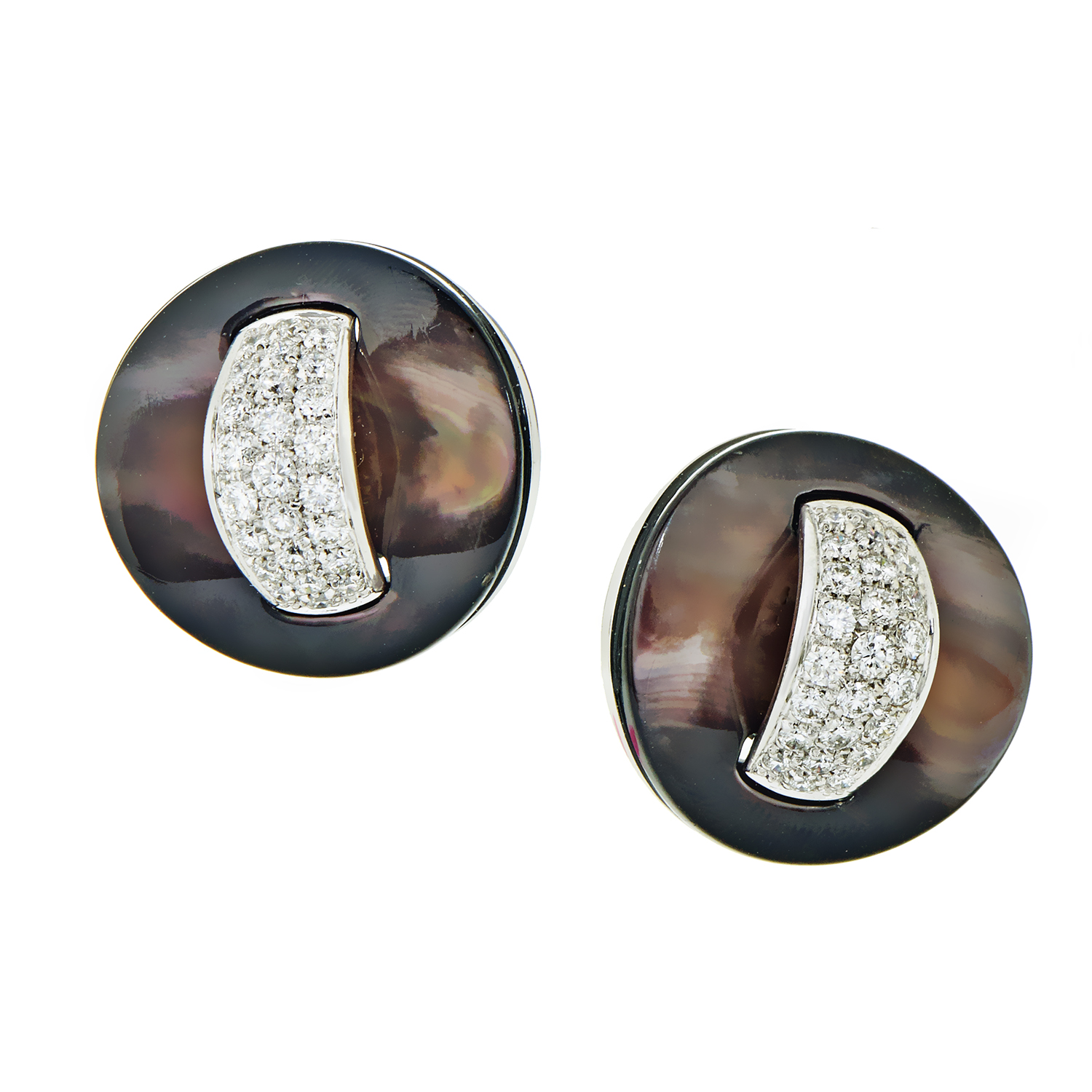 Roberto Coin Women's White Gold Black Mother of Pearl & Diamond Stud Earrings