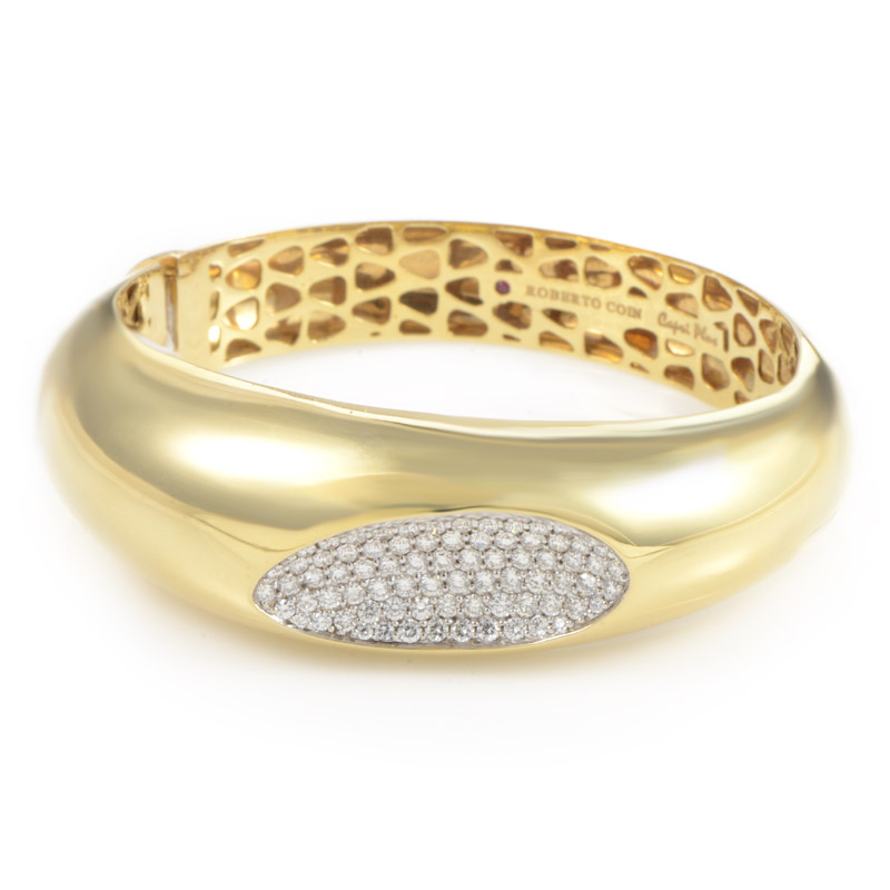 Capri Plus Women's 18K Yellow Gold Diamond Pave Bangle