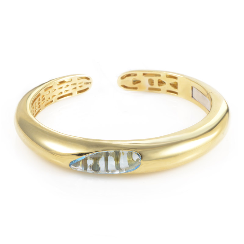 Capri Plus Women's 18K Yellow Gold Topaz Bangle Bracelet