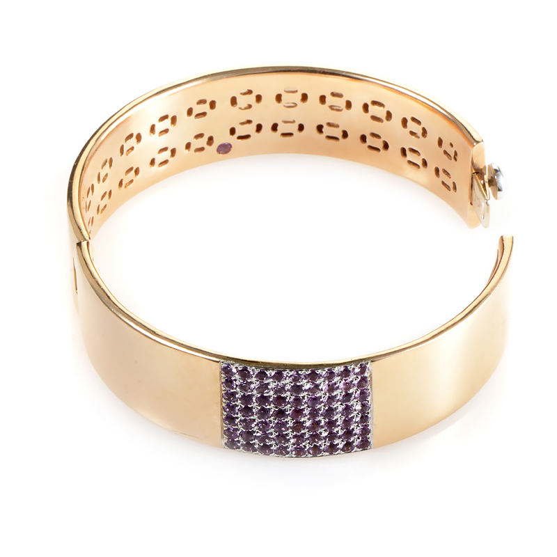 Roberto Coin 18K Rose Gold Pink Sapphire Pave Bangle ...