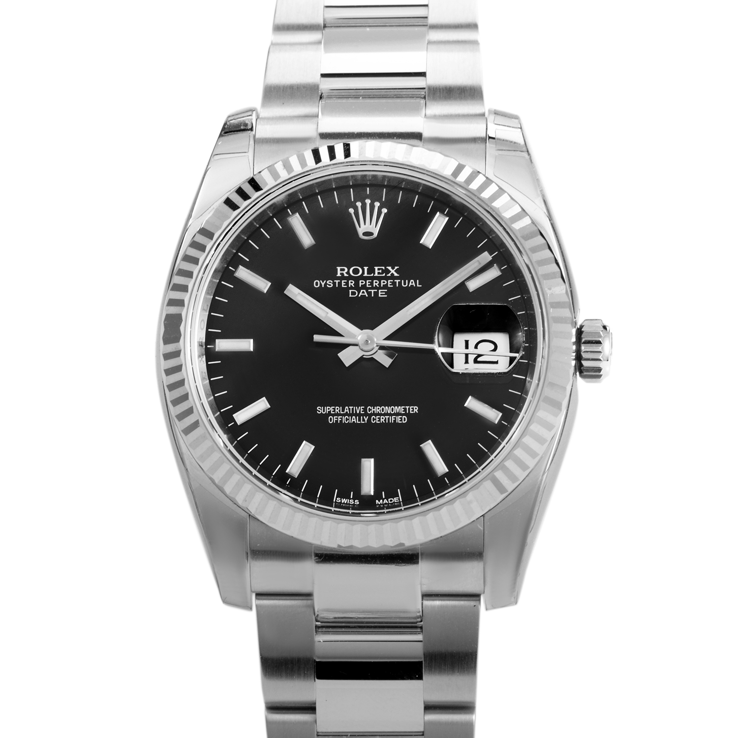 Oyster Perpetual Date 34mm Fluted Bezel 115234 bkso