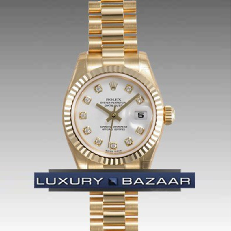 Datejust Lady Gold 26mm Fluted President 179178 wdp