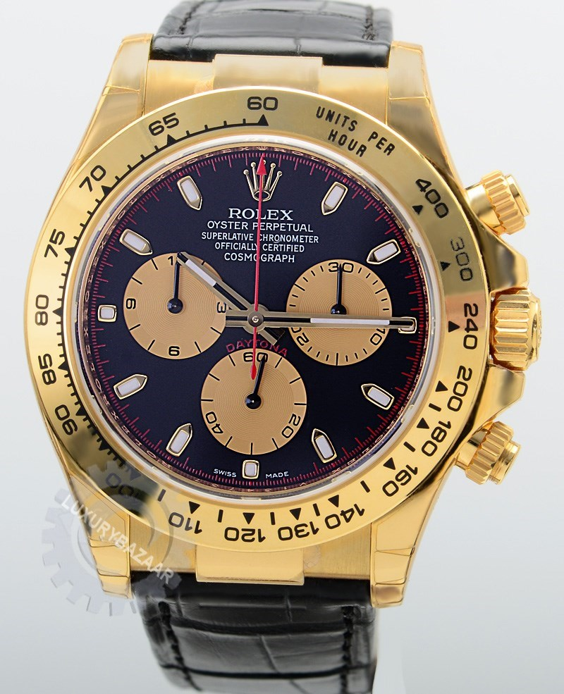 Cosmograph Daytona 116518 (Black and Gold Dial, Stick Markers)