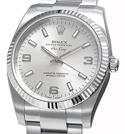 Air-King White Gold Fluted Bezel 34mm 114234 slio