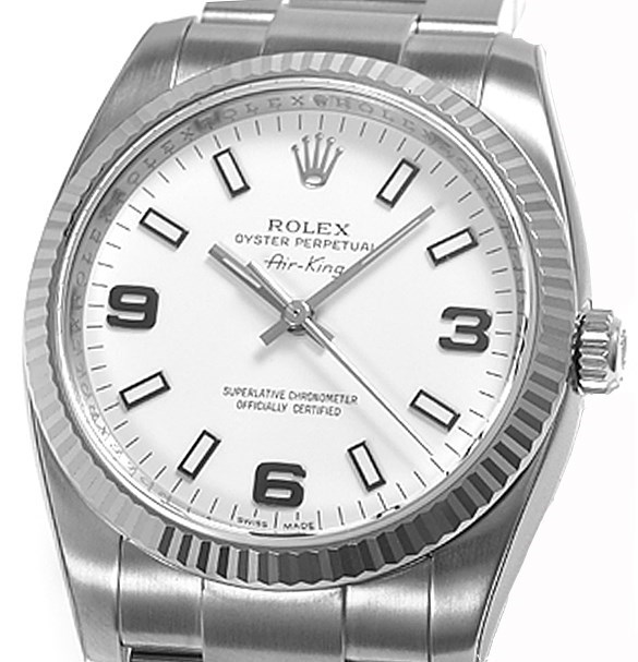 Air-King White Gold Fluted Bezel 34mm 114234 wao
