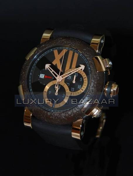 Titanic-DNA – rusted steel T-OXY III Chronograph / Pink Gold