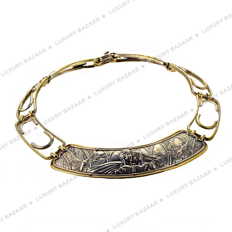 18K Yellow Gold & Silver Romeo & Juliet Cuff Necklace