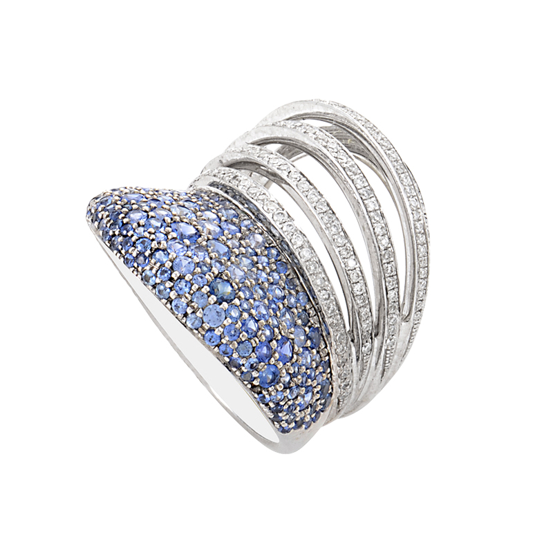 18K White Gold Sapphire & Diamond Band Ring