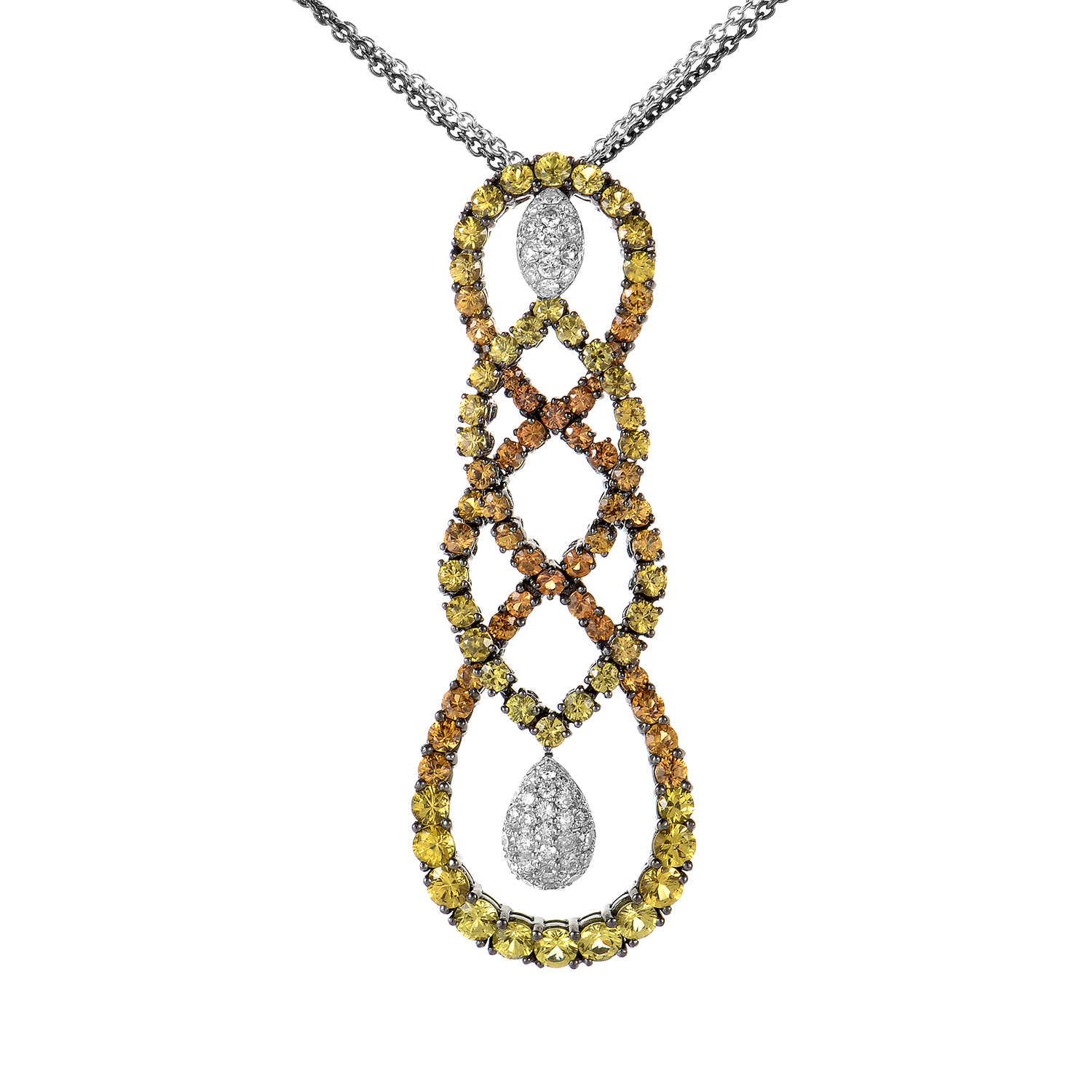18K White Gold Multi Sapphire and Diamond Necklace SALAG01-080612