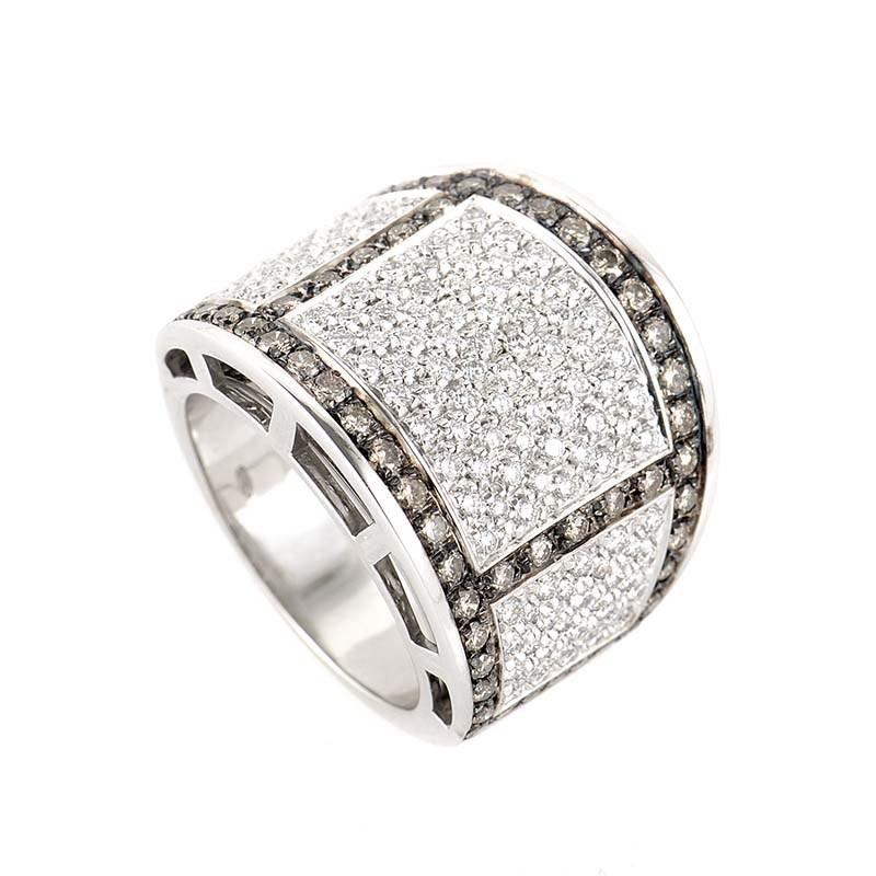 18K White Gold Cognac & White Diamond Band Ring