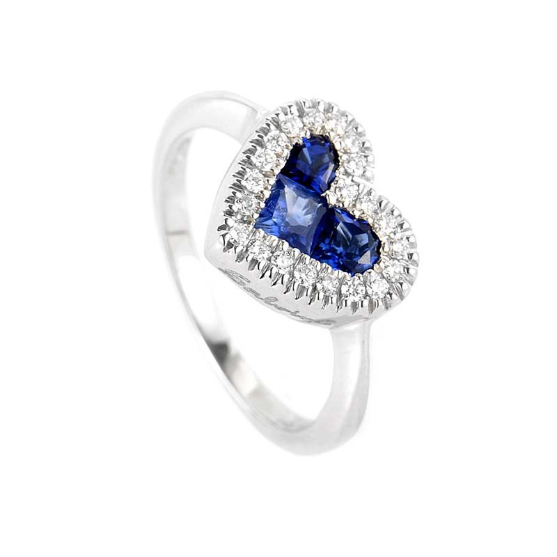 18K White Gold Sapphire & Diamond Heart Ring