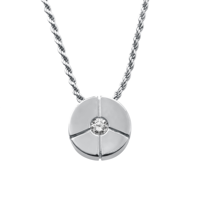 Women's 18K White Gold Diamond Solitaire Flower Pendant Necklace