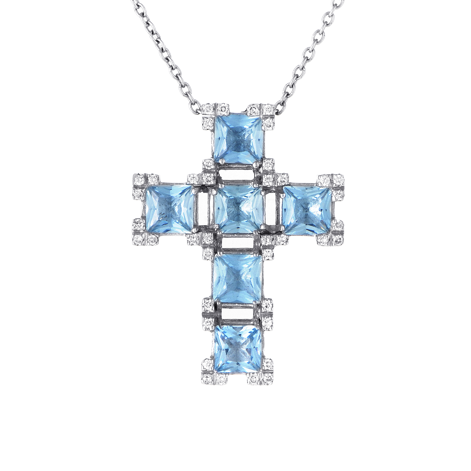 18K White Gold Aquamarine and Diamond Crucifix Pendant Necklace