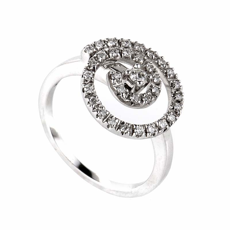 18K White Gold Diamond Swirl Ring SAL39684