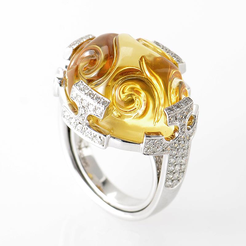 18K White Gold Yellow Citrine and Diamond Ring