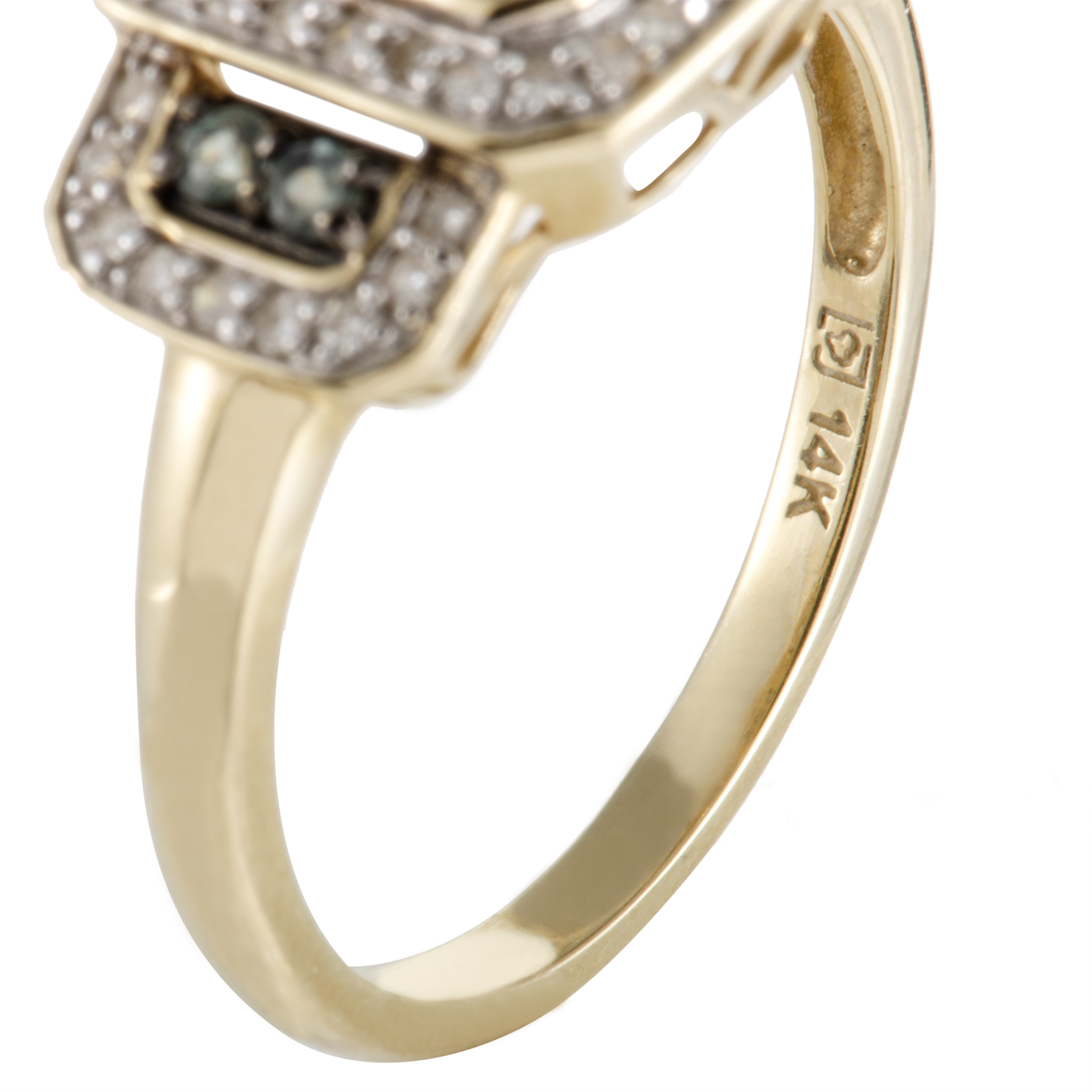 rings womens 14k yellow gold diamond and green alexandrite. Black Bedroom Furniture Sets. Home Design Ideas