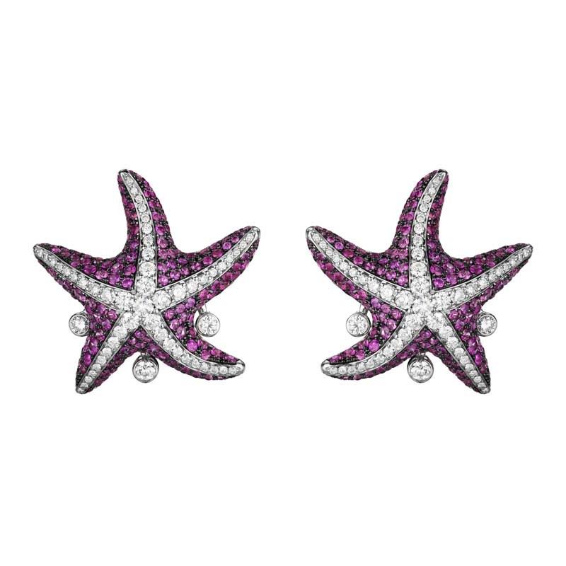 Women's 18K White Gold Pink Sapphire Starfish Earrings