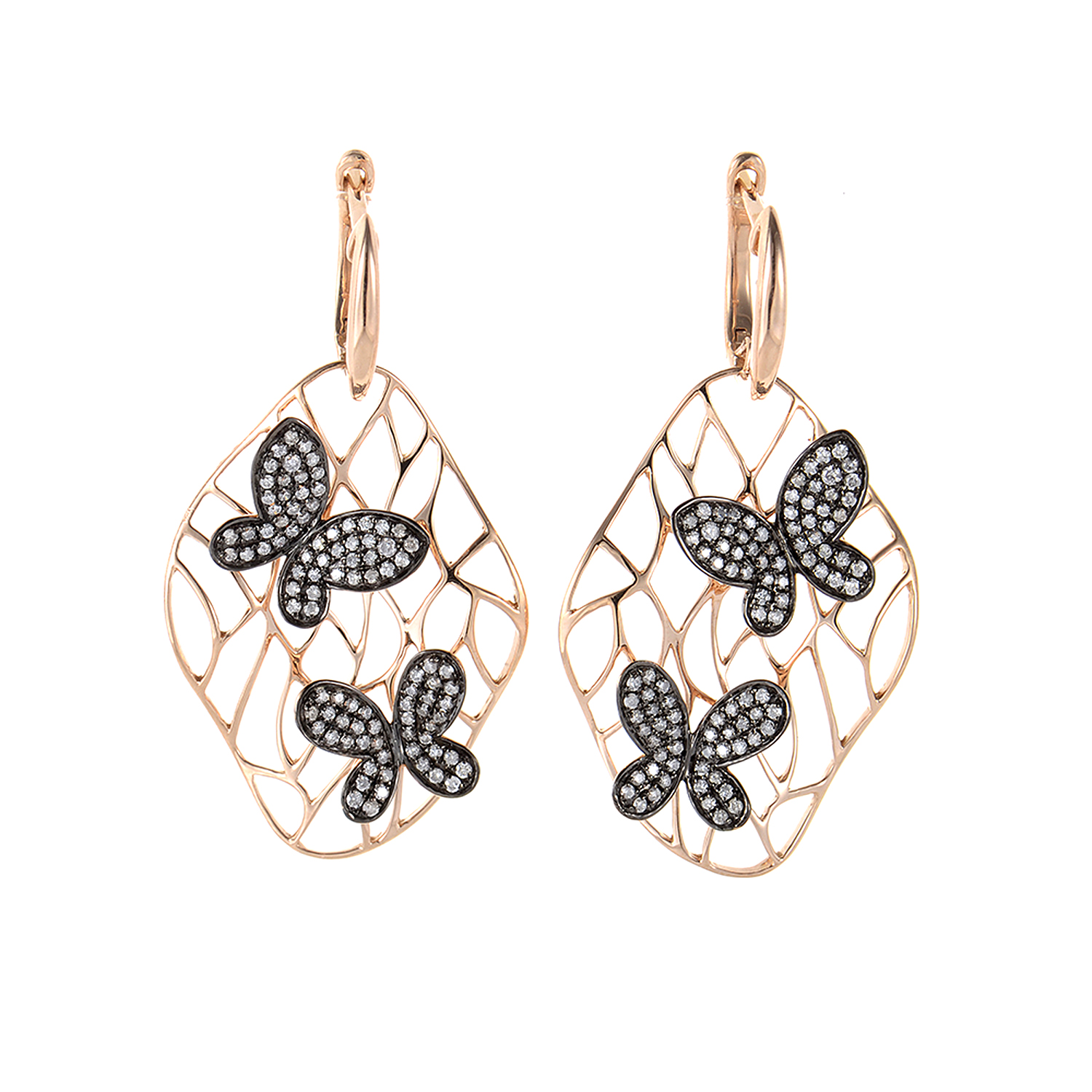 18K Rose Gold Diamond Butterfly Earrings SEA32664ERZ