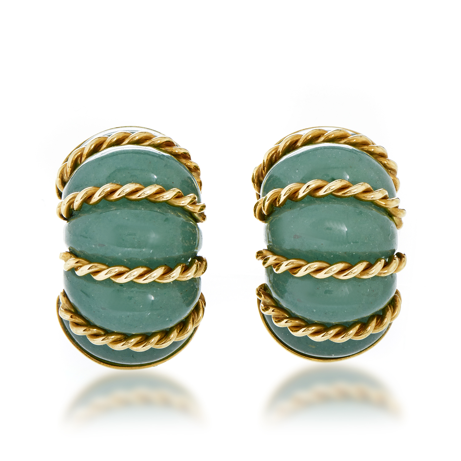 Seaman Schepps Women's 18K Yellow Gold Aventurine Quartz Huggie Earrings