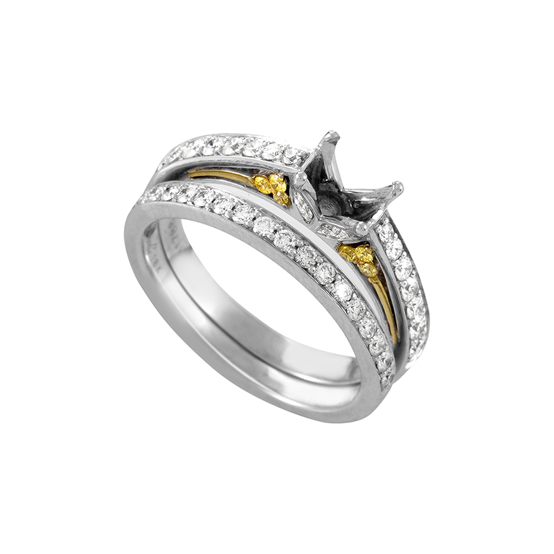 18K White and Yellow Gold Diamond Ring DR182