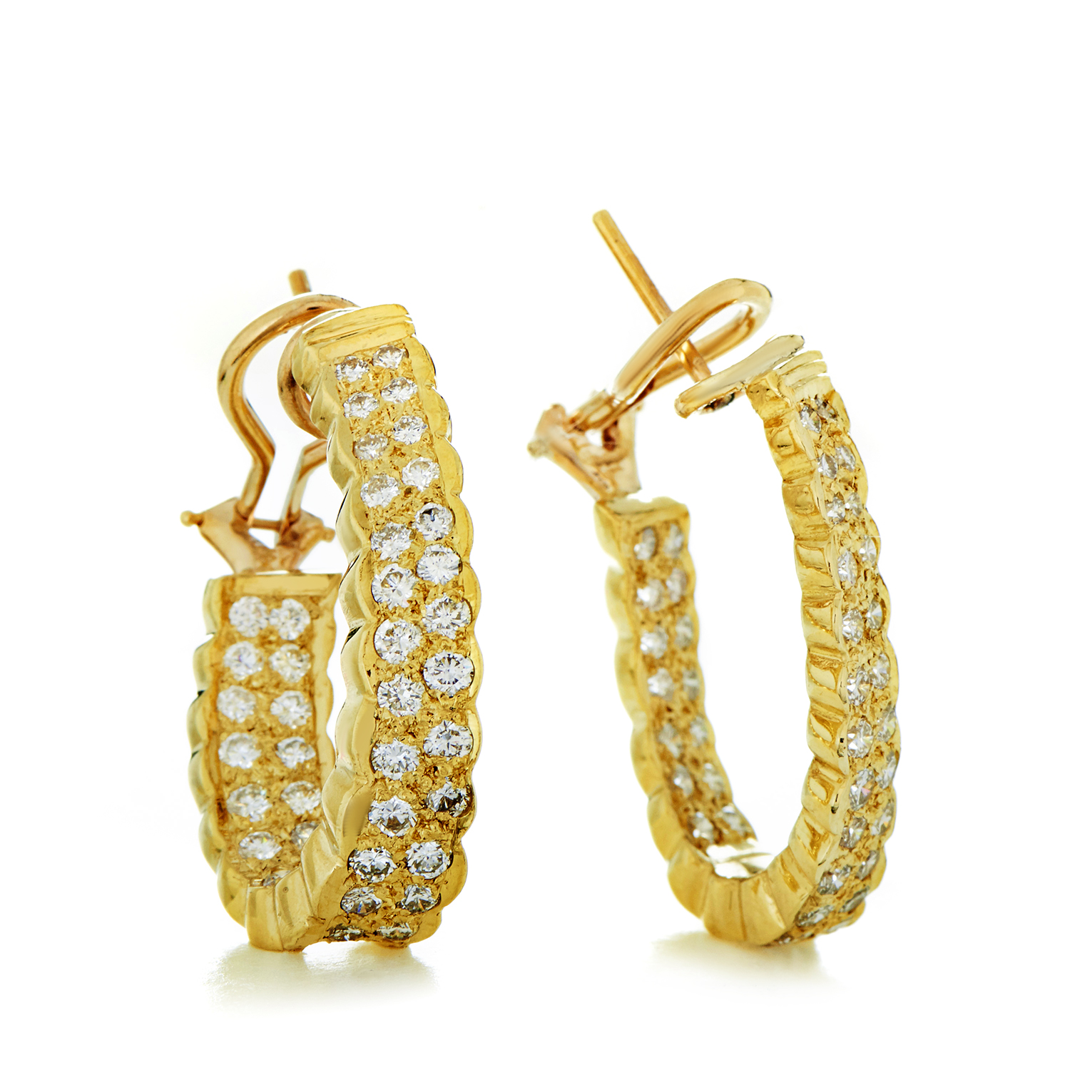 Women's 18K Yellow Gold Diamond Pave Hoop Earrings SN0107424AE