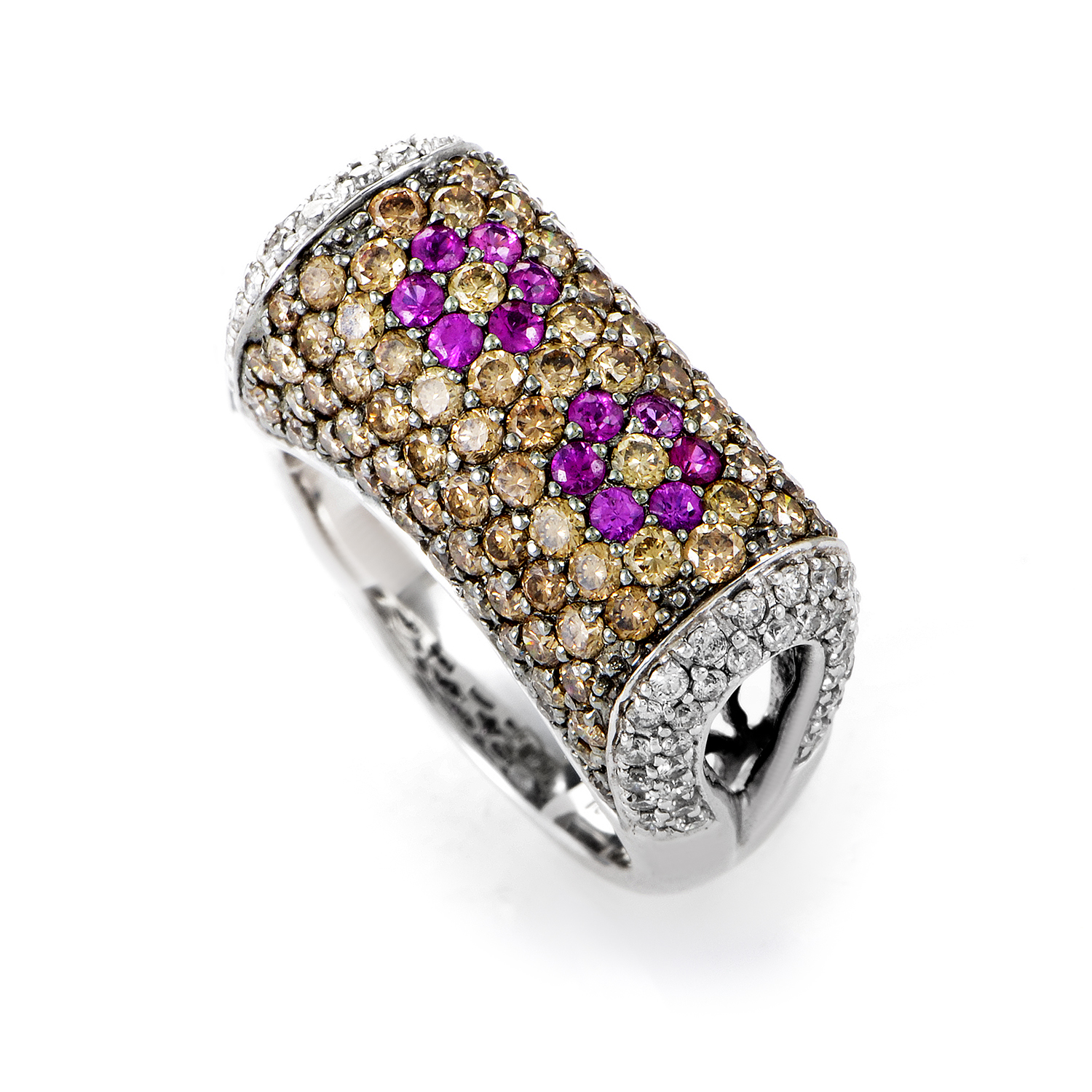 18K White Gold Multi-Diamond & Pink Sapphire Ring