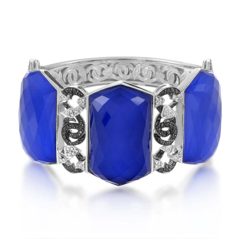 Poison Ivy Threesome 18K White Gold Lapis & Diamond Bangle
