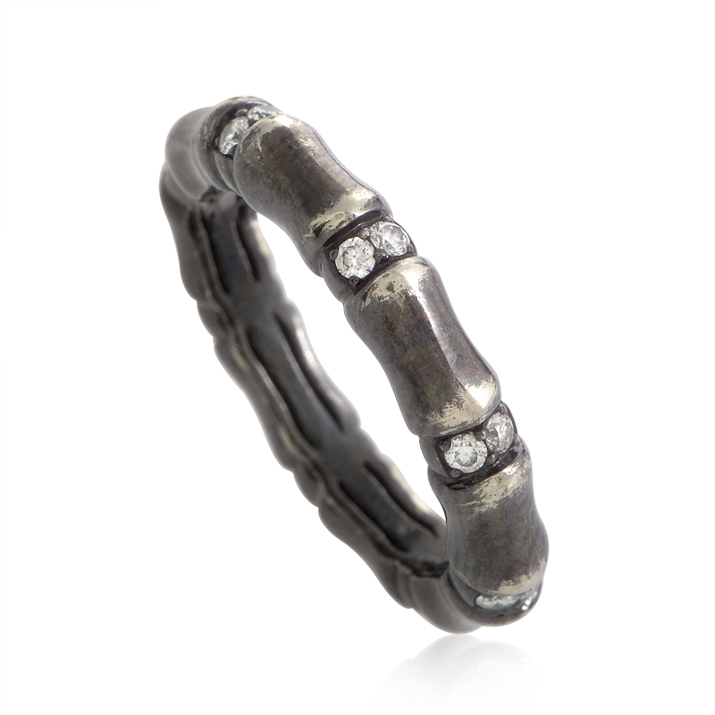 Bones 18K White Gold Diamond Band Ring