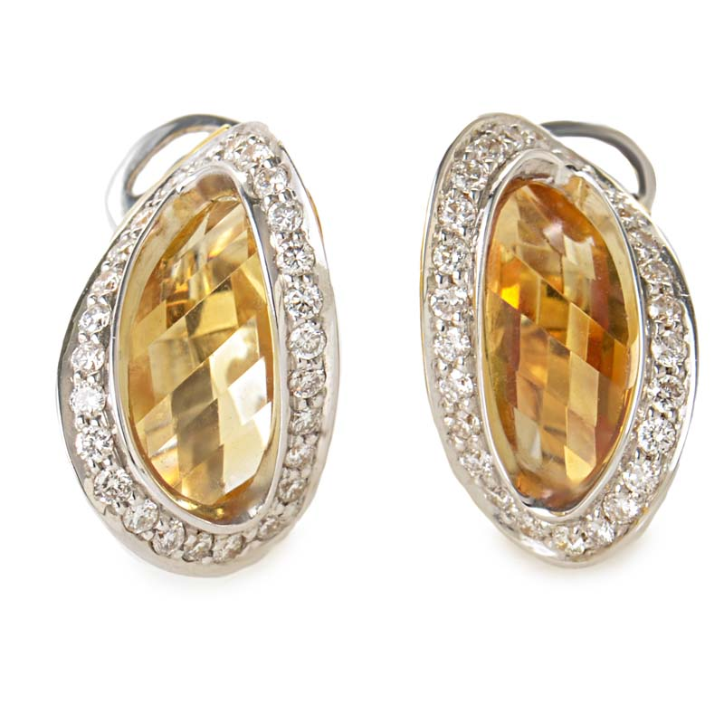 18K White & Yellow Gold Diamond & Citrine Earrings ER8-062058W/YG