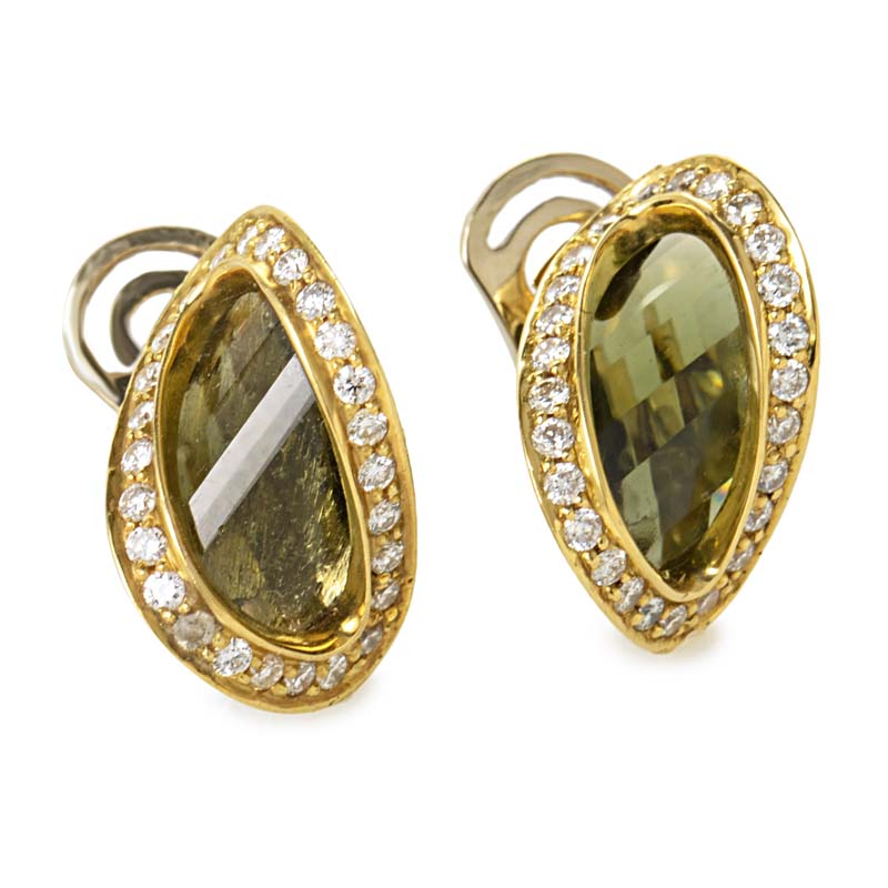 Women's 18K Yellow Gold Diamond & Moldavite Earrings ER8-062058YG