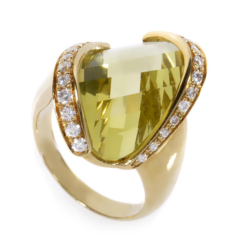 18K Yellow Gold Lemon Quartz & White Diamond Ring