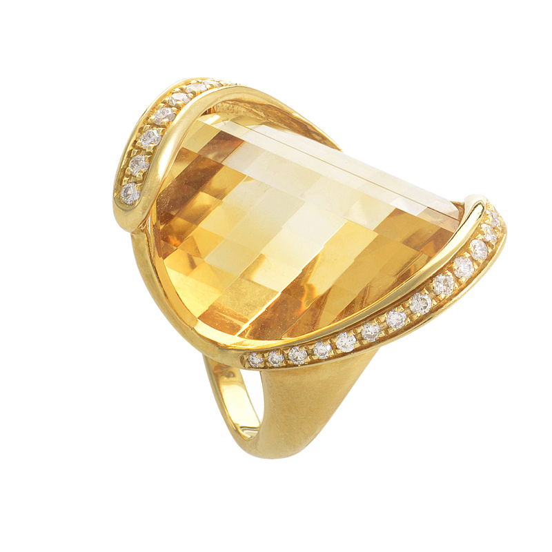 18K Yellow Gold Citrine & Diamond Ring LF8-063157YG