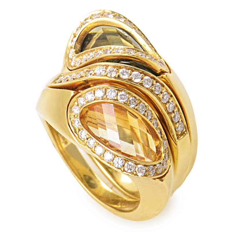 18K Yellow Diamond Smoky Topaz & Citrine Ring Set
