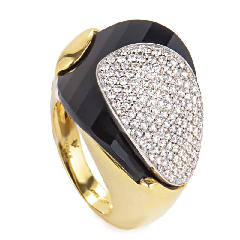 18K Yellow Gold Onyx Diamond Ring LF8-15098YG