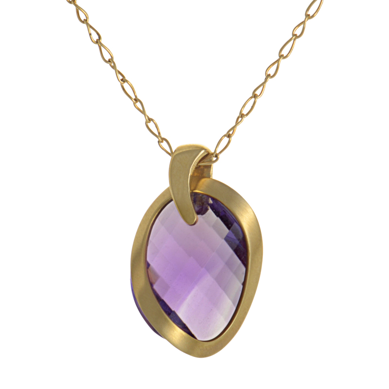18K Yellow Gold Faceted Amethyst Pendant Necklace PD8-001768YA