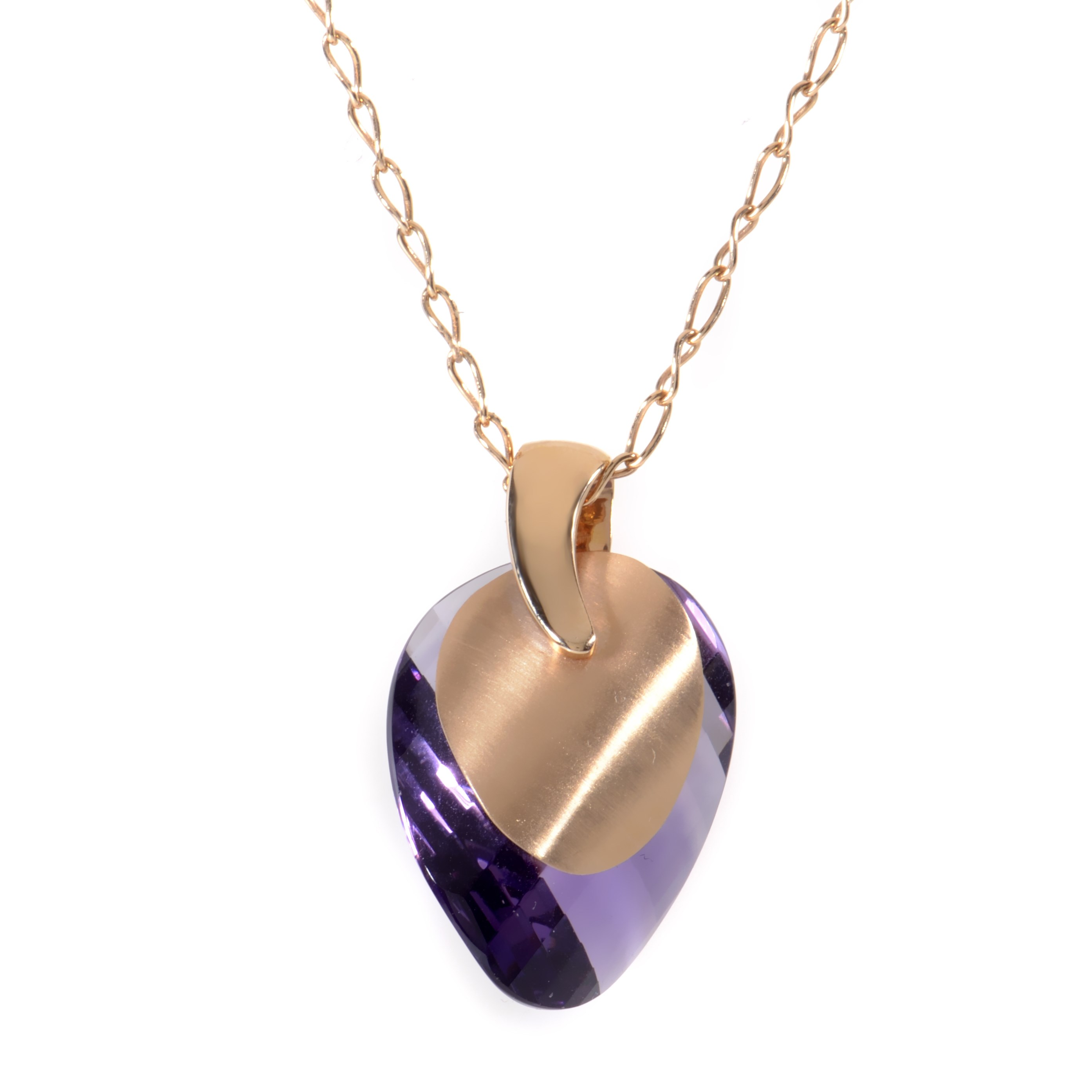 18K Rose Gold Amethyst Gemstone Pendant Necklace PD8-011629RA